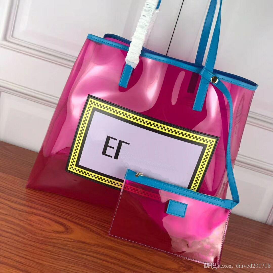 Европейский классический роскошный новый стиль сумка, фруктовый цвет женская сумка, прозрачный ПВХ шить кожаная хозяйственная сумка Милан модель шоу