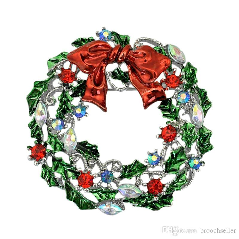 2 Inch Vintage Silver Plated Multicolored Enamel Leaf Flower Wreath Brooch with Red Bow Christmas Gift for friends