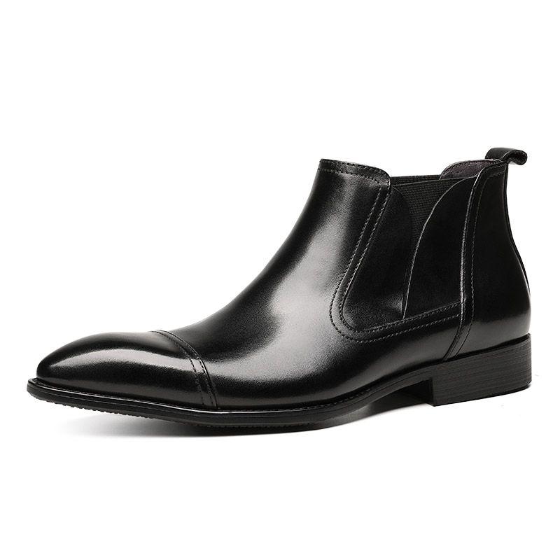 Compre Botas Negras Marrones Con Punta Estrecha Para Hombre Botas De Vestir Para Hombre Zapatos Sociales De Cuero Genuino Botas De Tobillo Para