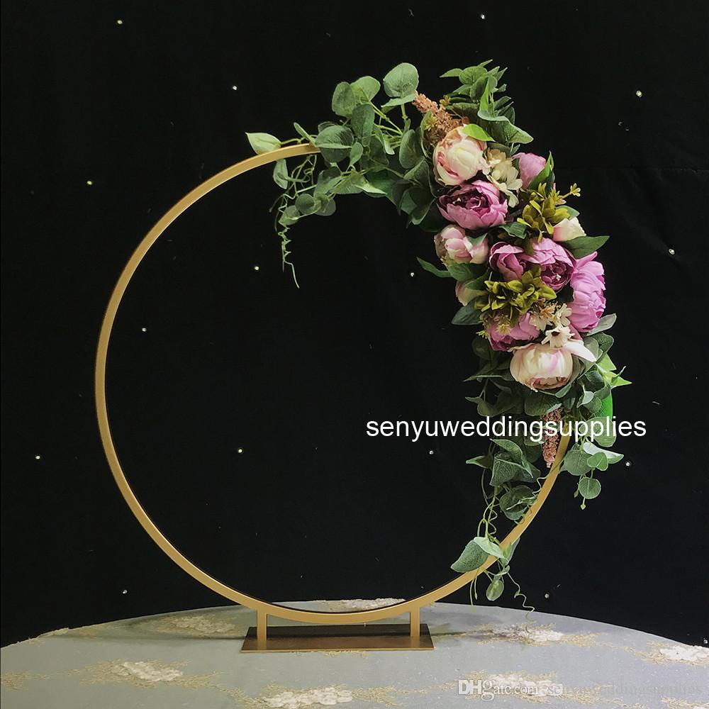50cm )Round Metal Wedding Arches Artificial Flowers Balloon Arch Kit Wedding Backdrop Stand Centerpiece Decoration for Party senyu0208