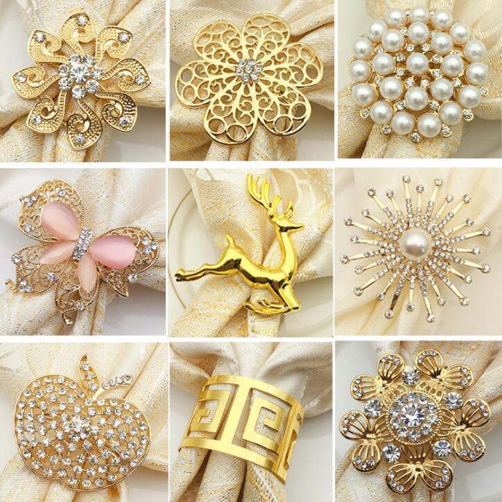 9 styles perle serviette Boucle en alliage Cerfs Napkin Ring Anneau récent papillon fleur serviette plaqué or Décoration de table CCA11543 100pcsN