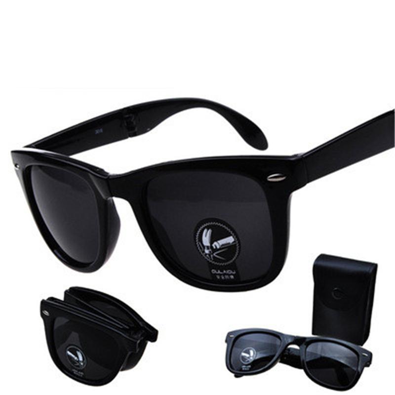 Moda Mini Folding óculos de sol com a caixa preta Praça Dobrável óculos de sol Mulheres Coating Vintage Espelho Rivet Eyewear