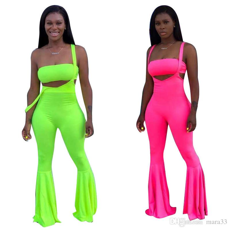 Women designer 2 piece set strapless chest wrap t-shirt jumpsuits rompers bell-bottoms pants solid color overalls sets summer clothing 856