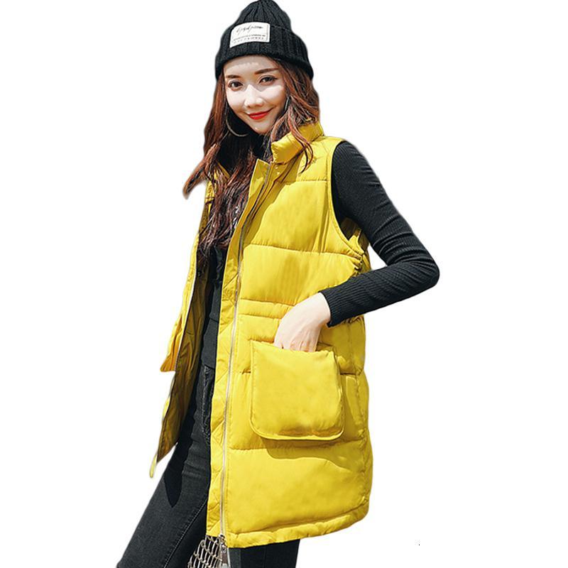 Kadınlar Kış Yelek Gevşek Uzun Yelek Şık Standı Kraag Mouwlless Yağ Sıcak Giyim Effen Büyük Cepler Kedi CM870