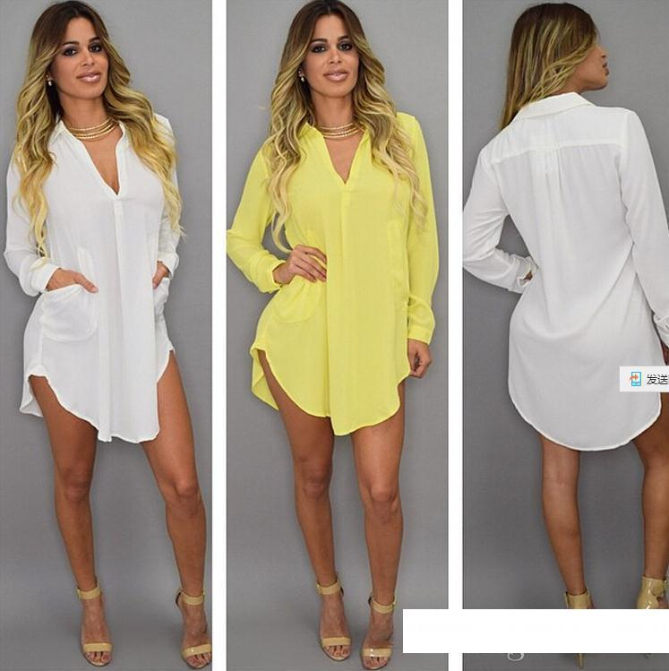 designer dress Summer Sexy V Neck Short Beach Dress Chiffon White Mini Loose Casual T Shirt Dress Plus Size Women Clothing