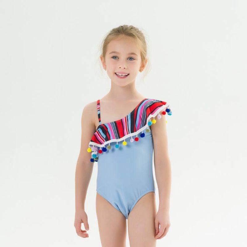 طفلة ملابس ملونة الشرابة طفل بحر مع الرضع الكتف كرات احد بنات الاستحمام ملابس السباحة الصيف ملابس الطفل DW4998