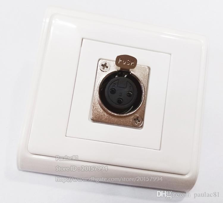 Placa de alta calidad del micrófono XLR de 3 pines hembra Canon Módulo de puerto único panel Toma eléctrica para pared / envío libre / 1PCS