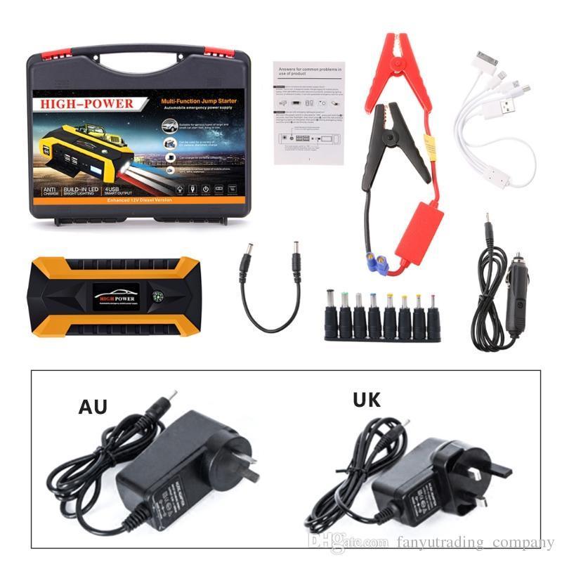 89800mAh LED 자동차 점프 스타트 스타터 4 USB 충전기 배터리 전원 은행 부스터 12V 부스터 충전기 배터리 전원 은행