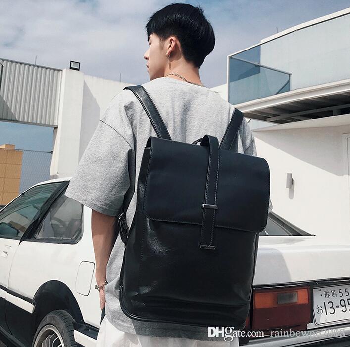 Homens fábrica atacado bolsa novos cintos decorados homens mochilas simples sacos de estudante bolsa de couro moda em couro tendência rua messenger