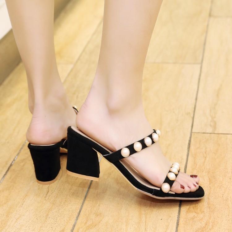 Glittery2019 Popular2019 Terlik Serin Kadın 40-43 Kadın Ayakkabıları ile Kod İnci Bir Kelime Sürükle