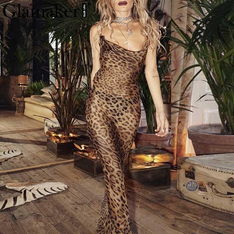 Glamaker Leopard print v neck maxi women dress Bodycon winter sexy dress Female slim party fitness long robe vestidos 2018