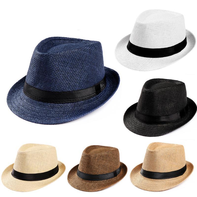 2019 moda Unisex trilby Gangster Cap playa sol sombrero de paja banda Sunhat mujeres Fedoras Ropa Accesorios # P30