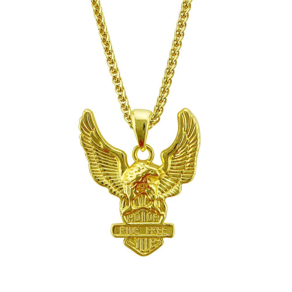 Hip Hop Punk Biker Gold Farbe Titanlegierung Tier Eagle Hawk Flügel Anhänger Halskette für Männer Schmuck großhandel