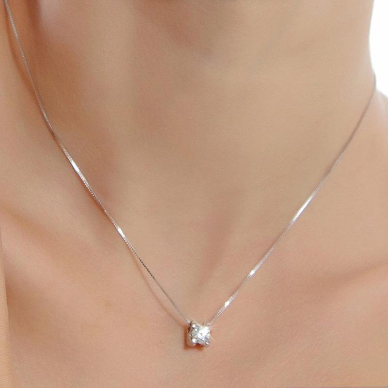 SaiSee Shiny CZ Kristall Anhänger Halskette Für Frauen Mit 45 cm Box Kette Kleine Zirkonia Halskette Weiblichen Quadratischen Stein