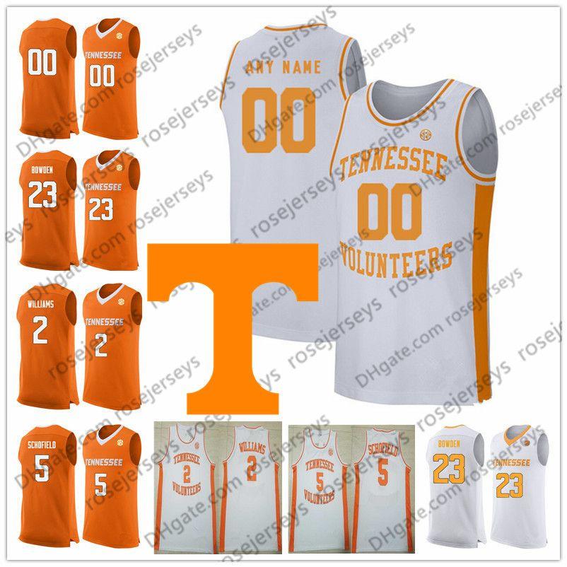 Custom Tennessee Volunteers 2019 Basketball orange white Any Name Number 2 Grant Williams 5 Admiral Schofield 0 Bone Turner Bowden Jerseys