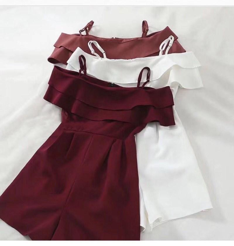 Womens Suspender Ruffle Jumpsuit verão sexy palavra ombro cintura para baixo cor sólida macacão fama casual roupas