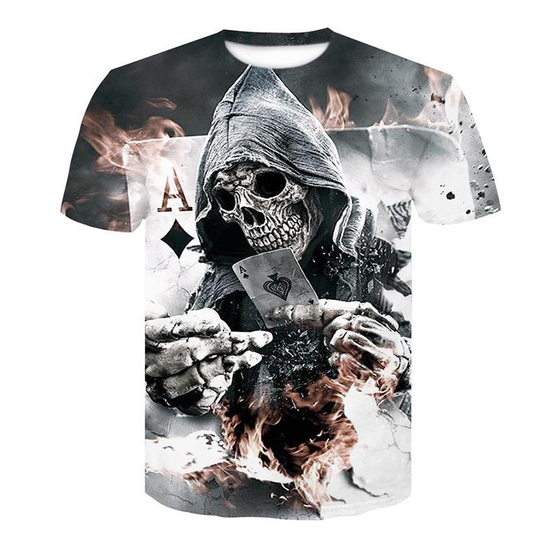 2018 Novo Mens Verão Crânio Poker Imprimir Homens de Manga Curta T-shirt 3D Camiseta Casual T-shirt Respirável Plus-size