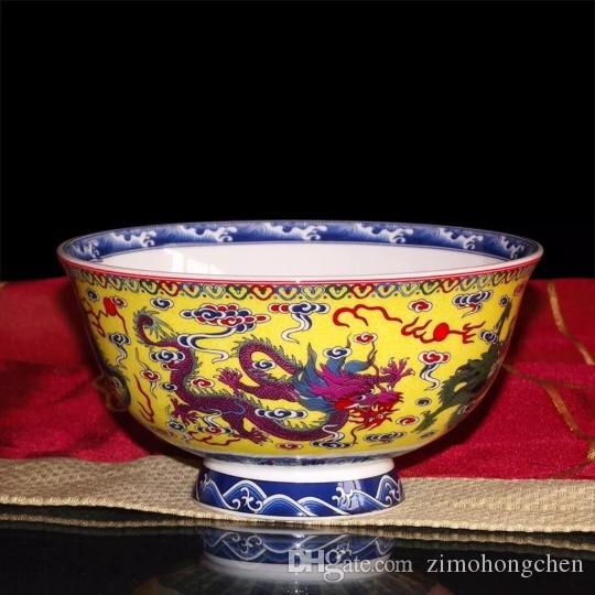 Hueso cuenco de arroz de China Jingdezhen cerámica hogar único empero dragon bowl chino de alta calidad tazón de fideos tazón dragón patrón