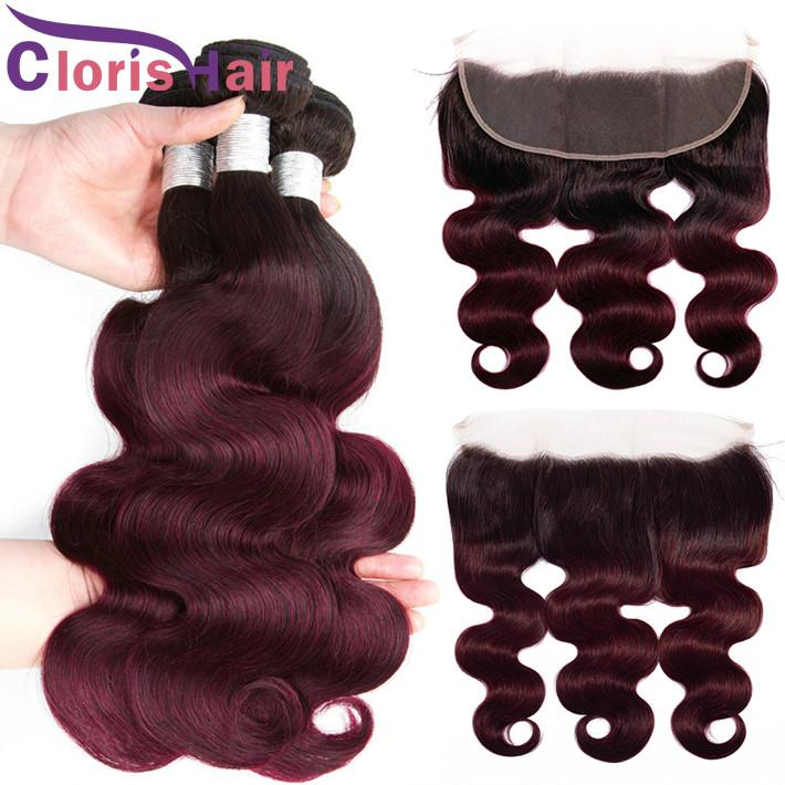 Colored Burgundy 13x4 Lace Frontal With 3 Bundles Body Wave Human Hair Weaves Closure Ombre 1B 99J Peruvian Virgin Extensions Top Closure