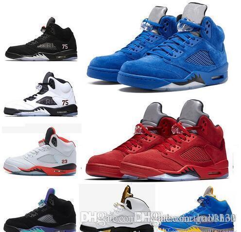 5 Zapatos Psg X París baloncesto 5s Negro uva Hite Cemento Oreo Azul Rojo Olímpico hombre blanco Trainer Deportes zapatillas de deporte Tamaño 7-13
