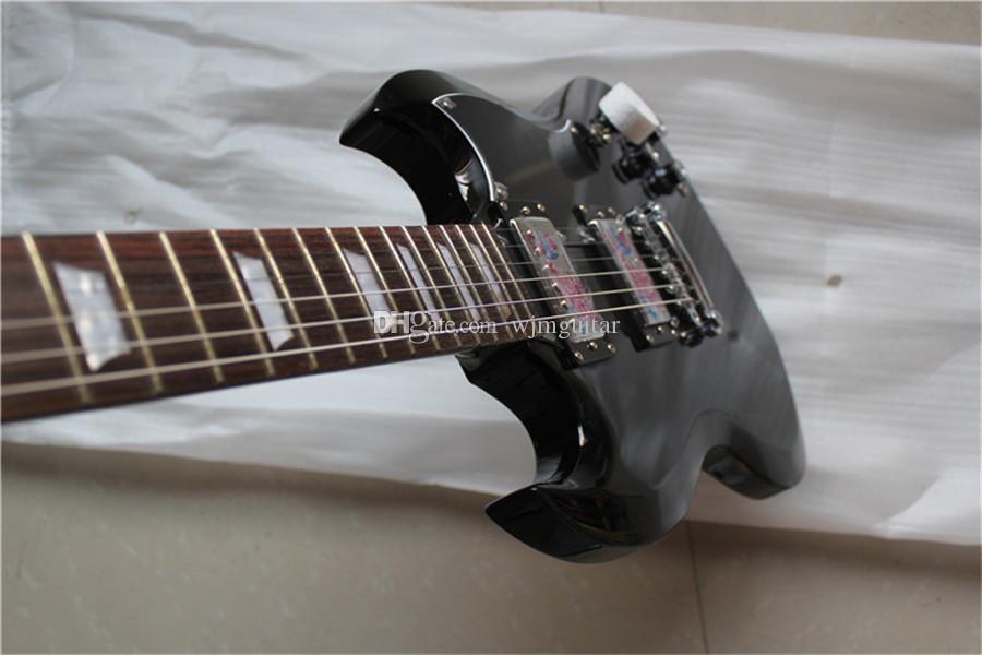 Бесплатная доставка завод заказ SG черная гитара, красное дерево тела, красное дерево шеи, Rosewood грифа с оболочкой инкрустацией, LP пикапов, Имитация нефрит ручка