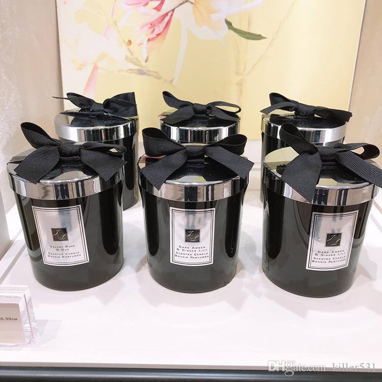 Indoor Duftkerze 200g Schwarze Flasche Ebenholz Englisch Birne blau Wind Glocke Meersalz Lime Blätter Basilikum-freies schnelles Verschiffen
