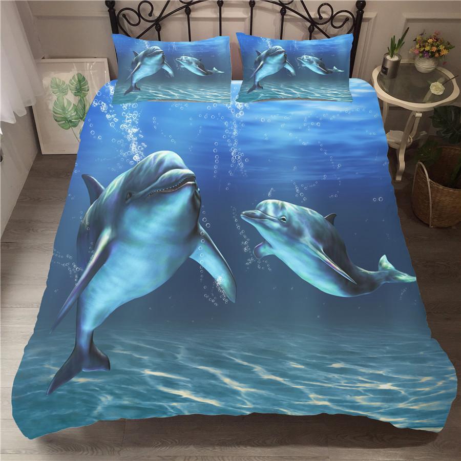 Un set di biancheria da letto Copripiumino stampato in 3D Set di biancheria da letto Sea Dolphin Tessuti per la casa per adulti Biancheria da letto con federa # HT02