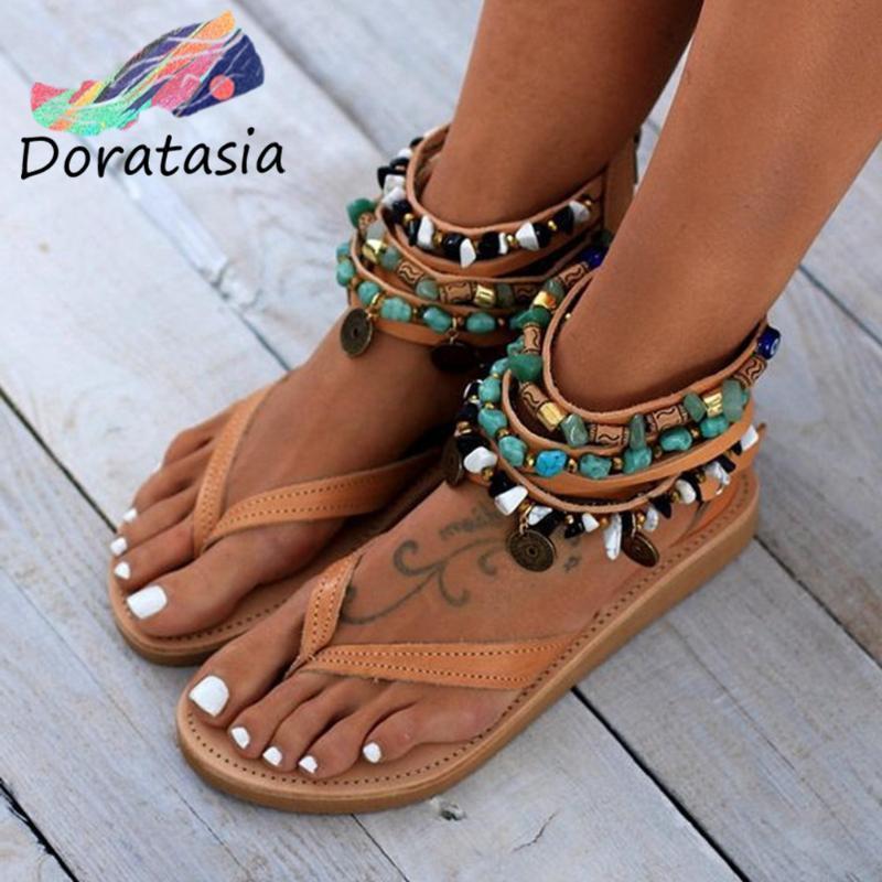 DORATASIA elegante Summer Beach Beading Casual Low Heel flip flop Sandals Mulheres New Hot Ins étnico Plano Sandals