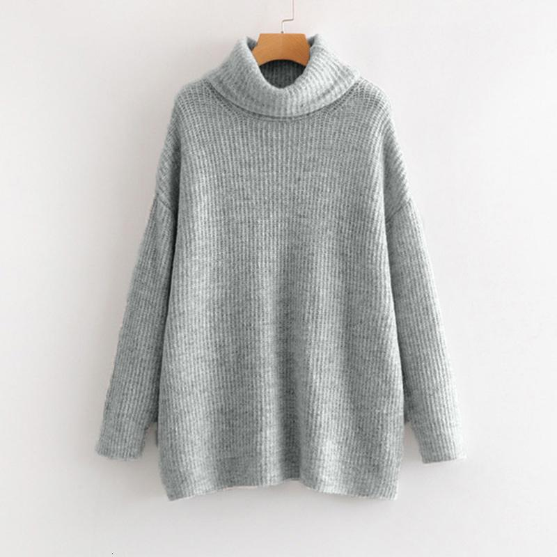 Oversize Turtleneck Knitted Women's Sweater Pullovers Long Batwing Sleeve Winter Solid Women Sweaters Loose Basic Jumper V191105
