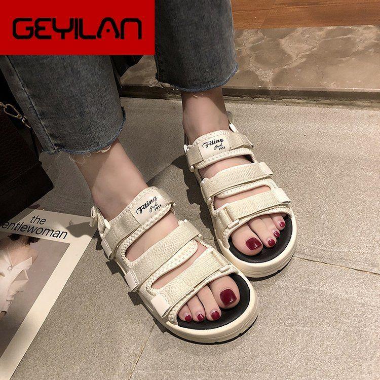 della piattaforma Donna Sandali 2019 Fibbia estate di modo delle donne spesse Soled Beach sandalo Casual Shoes Chunky donna 125