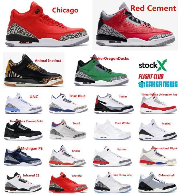 3s Jumpman Basquete sapatos vermelhos Cement Preto Tinker 3 UNC Katrina Knicks Rivais 3M reflexiva Designer Trainers Sneakers