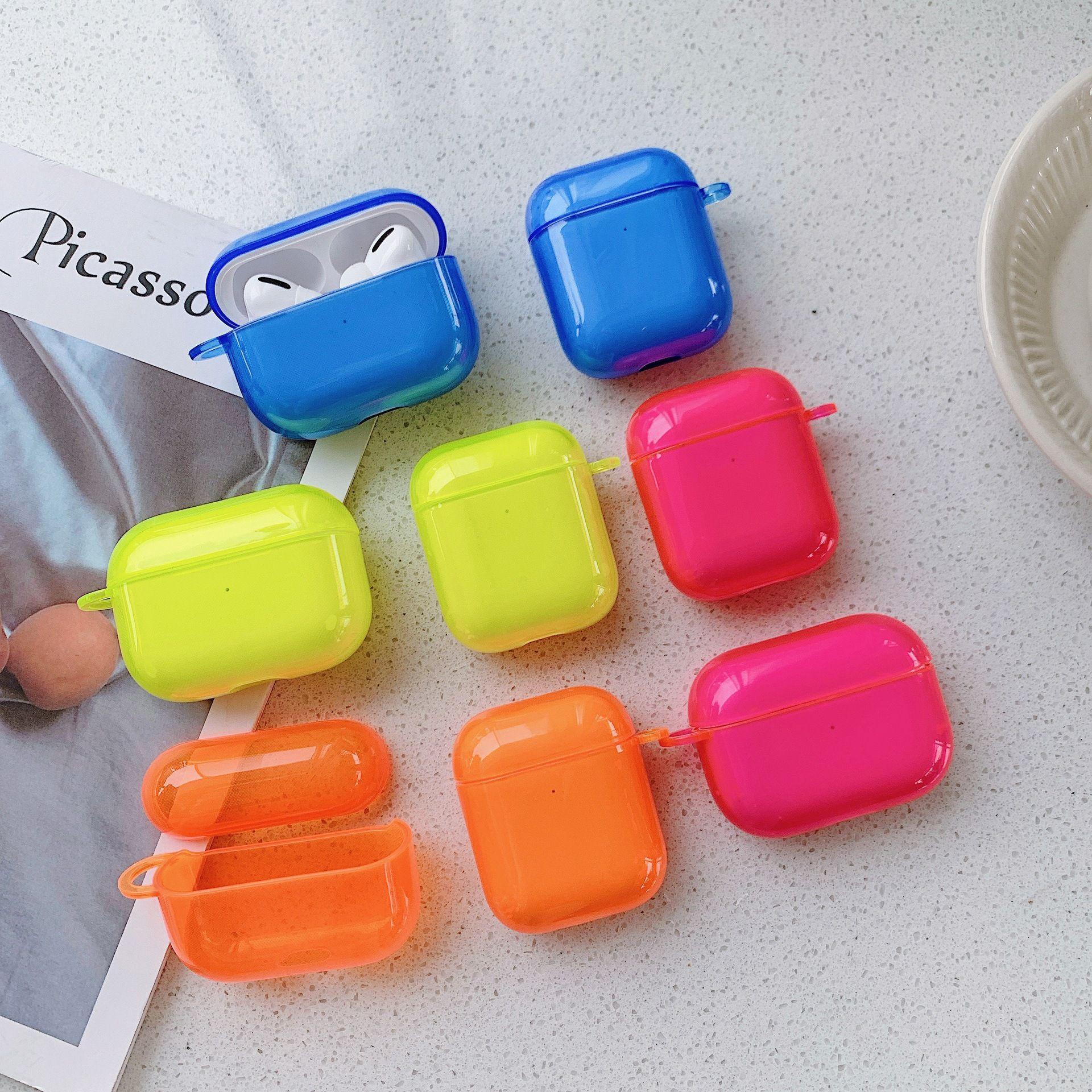 colore fluorescente Per il caso di Apple Airpods colore solido Auricolare Bluetooth della calotta di protezione Per aria Baccelli Pro 2 1 caso per cuffie