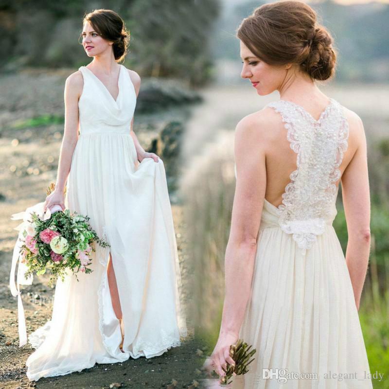 V-Neck Chiffon Bohemian vestidos de noiva Lace Bead Primavera 2018 Summer Beach País Plus Size vestido de noiva nupcial vestido de baile para a noiva
