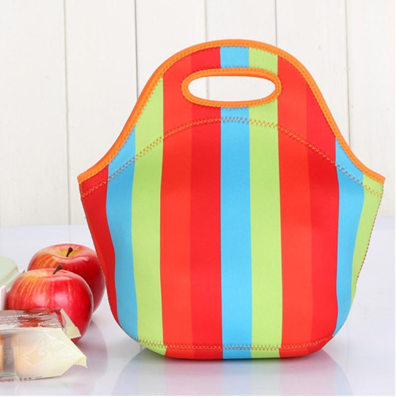 النيوبرين غداء حقيبة معزول للماء الغداء مربع للمرأة الكبار للأطفال لينة قابلة للغسل في الهواء الطلق حقيبة نزهة portble