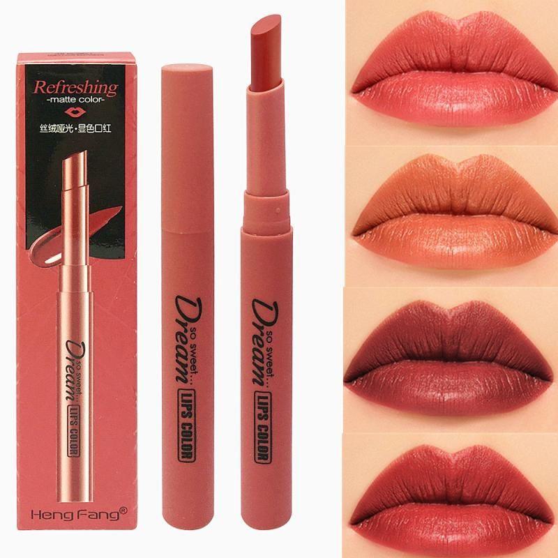 1PC Kürbis Farbe wasserdichter Nude Velvet Matt Glanz Lippenglanz-Lippenstift-Lippen Sexy rote Tönung Frauen Make-up Geschenk TSLM2