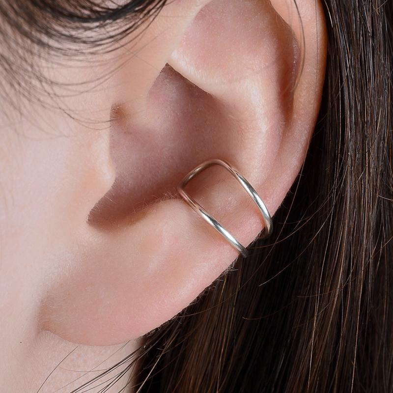 925 del oído Oro falso Cuff Piercing pendientes hechos a mano del oído del escalador de joyería Lleno Brinco minimalista Pendientes pendiente personalizado