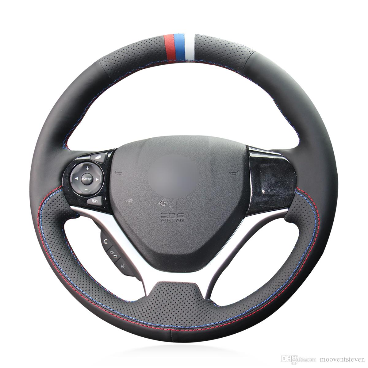 Mewant Black Genuine Leather Red Blue White Marker Car Steering Wheel Cover for Honda Civic 9 Civic 2012 2013 2014 2015