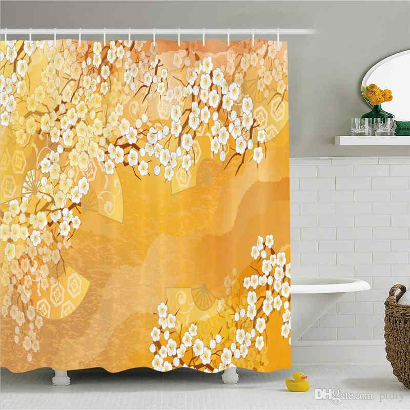 Asian Shower Curtain, Japanese Cherry Blossom Sakura Tree Branches Ethnic Ancient Blooms Artwork