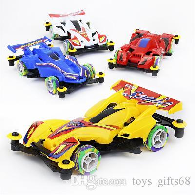 Mini a quattro ruote motrici elettriche modello di auto giocattolo per bambini di assemblaggio intercambiabile pneumatici modello di auto da corsa giocattolo scuola materna regali all'ingrosso