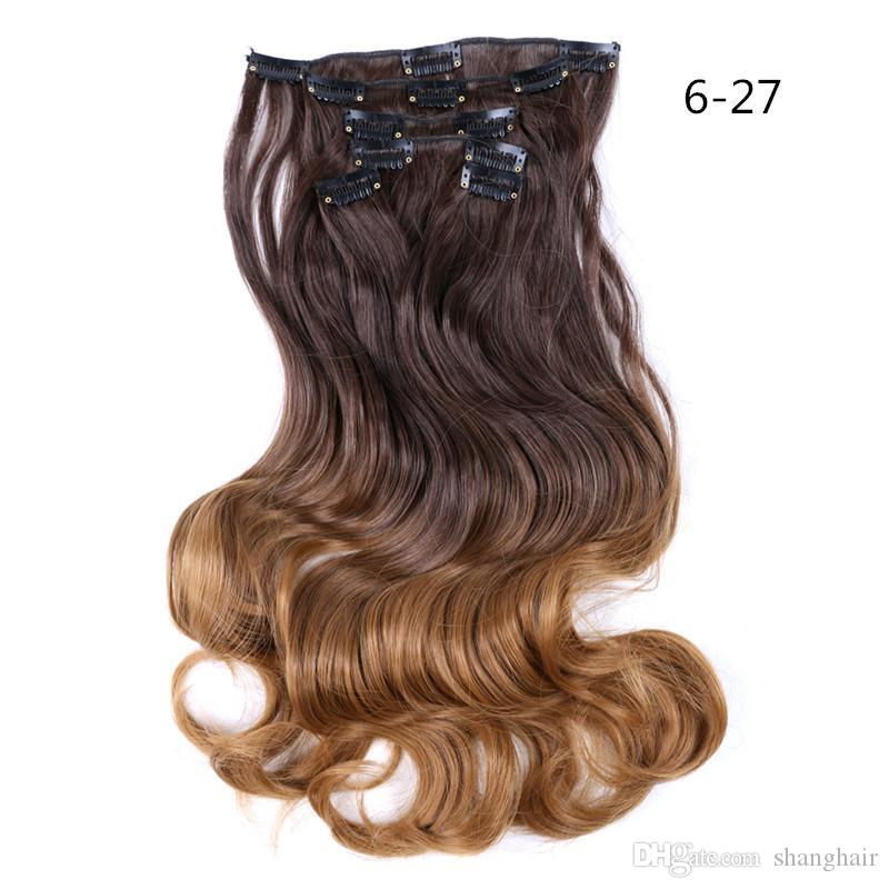 Shanghair 22 Inchs 12 Clips in Hair Extensions Long Body Wave Hairstyle Synthetic Blonde Black Hairpieces Heat Resistant False Hair