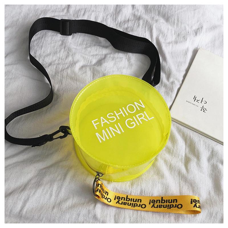 Mulheres 2020 coreano Moda Bandoleira Sacos PVC transparente redonda pequena Telefone Bolsa Limpar Cadeia Mensageiro Ombro Bolsas