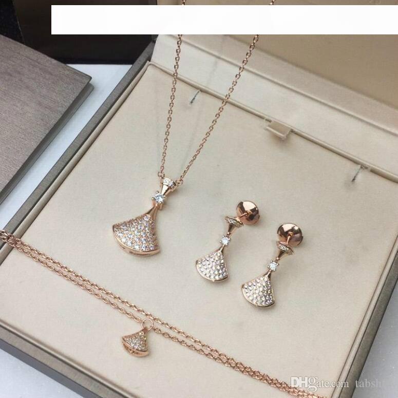 роскошный дизайнер женщин комплект ювелирных изделий ожерелье браслет серьги суб-золотое покрытие 18k розовое золото белое золото, 925 серебряные серьги анти-аллергия