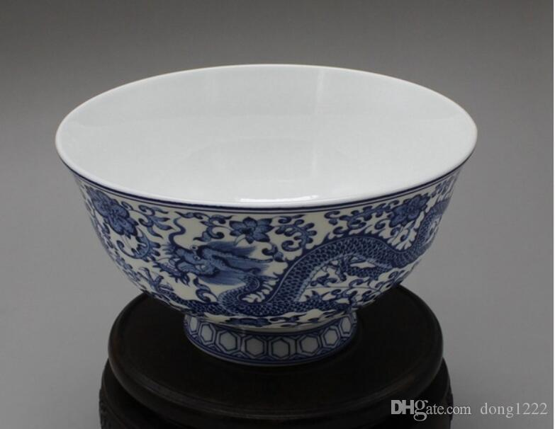 China porcelana antigua azul y blanco doble dragones cuencos