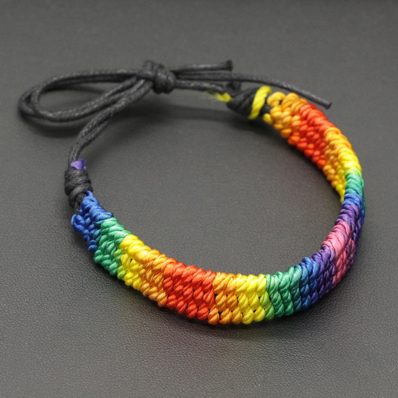 Rainbow Flag Gay Pride LGBTQ Charm Braided Love Heart Adjustable Bracelet NEW