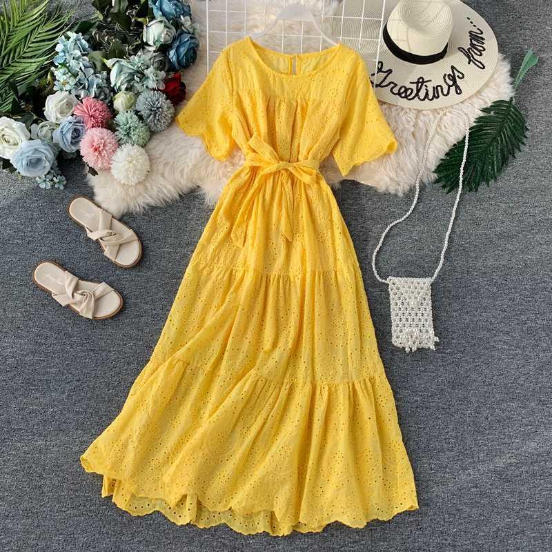 Летние платья Женщина Вечеринка Ночная Мода Полые пэчворк Slim A-Line Robe Vestidos 2020 Новое Женское Сплошное Случайное Элегантное платье