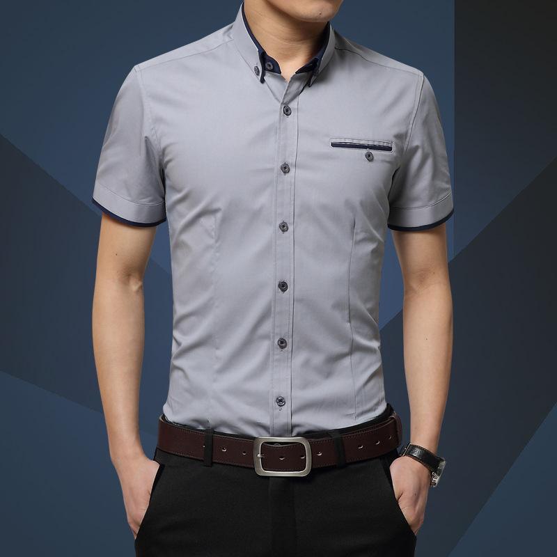 Новое поступление мужская летняя Деловая рубашка с короткими рукавами отложной воротник повседневная рубашка Мужские рубашки плюс размер M-5XL