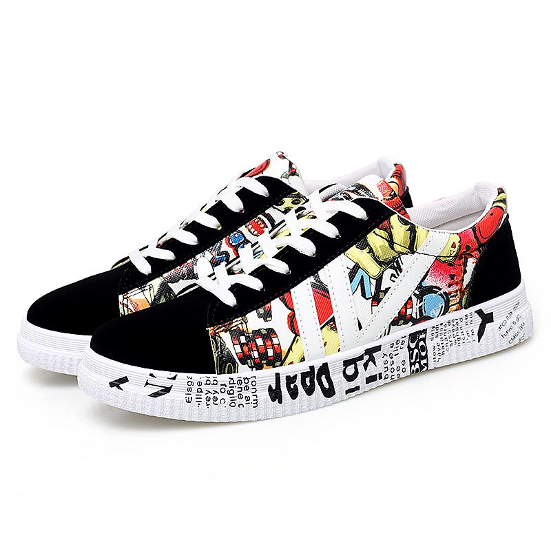2020 nouvelle mode unisexe sport confortables femmes Graffiti toile Chaussures Sneakers Casual Hommes