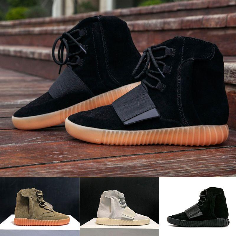 2020 Classic Kanye West 750 Runner Light Brown Gum Gom Girl Triple Negro Hombres Hombres Altos Zapatillas 750 Sneakers Atléticos de la Mejor Calidad 36-46