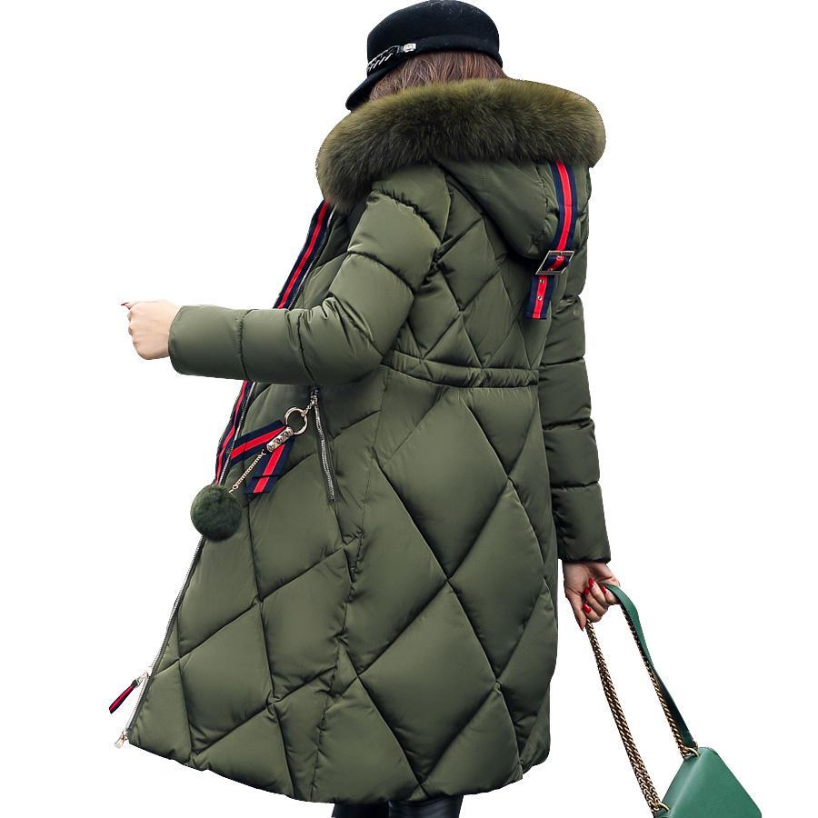 2019 новых женщин зимняя куртка с капюшоном случайный твердый меховой воротник Толстые Длинные Женщины ветровки с капюшоном Женский Outwear пальто