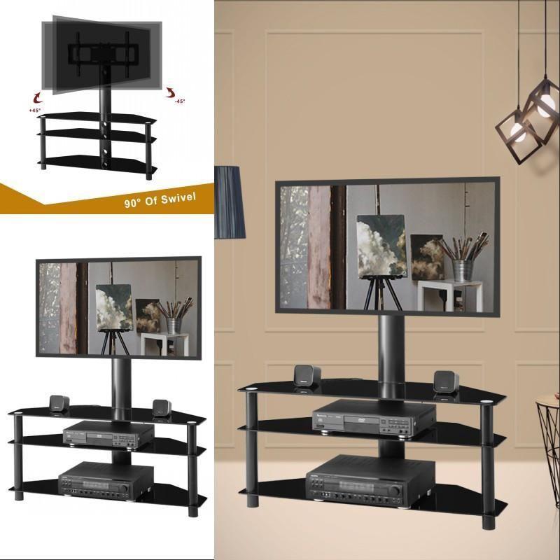 Noir multi-fonction TV LCD réglable Angle hauteur Support Plasma Support TV Trois couches de verre étagère pour plusieurs périphériques médias
